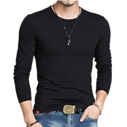 Algodón Fino T Shirts Baratos-New Men T-shirt Classic Solid Color Soft Cotton Blends Elasticity Long Sleeve Thin Bottom Shirt Casual Male T-shirt Top Tees