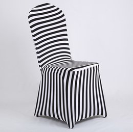 Chinese  New Products Hot Sale Black and White Stripe Print Lycra Chair Cover Arch Front For Wedding Decoration & Party manufacturers