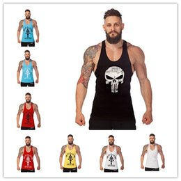 Barato E Coleiras De Volta-12 cores Cotton Stringer Bodybuilding Equipment Fitness Gym Tank Top camisa Solid Singlet Y Voltar Sport Clothes Vest