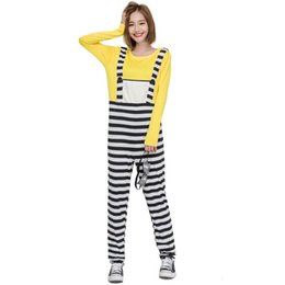 halloween costumes jupsuit women autumn winter long sleeve oneck stripe cartoon cute yellow cosplay party club costume fake two pieces affordable cute