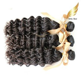 Cheap 18 Inch Hair Extensions NZ - Virgin Human Hair Weaves Brazilian Deep Wave Bundles Hair Extensions Cheap Human Hair Wefts Bellahair 9A