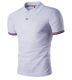 China Polos Tee Shirts Men 2018 Patch Striped Design Pullover Short Sleeve Solid Color Mens Sport Polo Shirts Free Ship Cotton Brief Stylish 2017 supplier stylish polo men suppliers