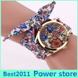 band cases 2019 - 2016 new fashion flower printed case Women's Geneva Floral Allover Cloth Scarf Band Quartz Analog Wrist Watch cheap