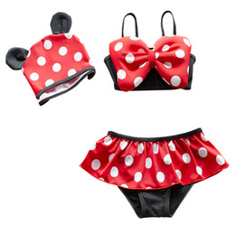 Maillots De Bain Minnie Mouse Swimsuits Pas Cher-La Petite Toddler Filles Enfants Two Piece Ear Tankini Swimsuit Minnie Mouse Polka Dot jupette Maillots de bain Maillot de bain maillot de bain Cap