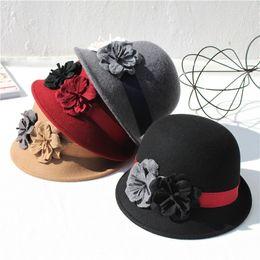 480e529a65300 Fashion womens woollen hats elegant bowler derby trilby leaves bowknot  fedoras girls felt cap vintage hats for women sun caps top hat