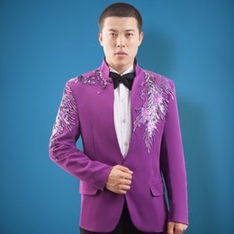 $enCountryForm.capitalKeyWord Canada - Free ship lavender violet peacock sequined beading tuxedo jacket vintage stage performance dance studio club jacket