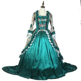 Southern belle dreSS xl online shopping - 2017 Green Floral Fantasy Printing Pattern Marie Antoinette Period Dress Medieval Southern Belle Masquerade Queen Elizabeth Party Dress