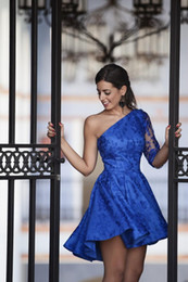 Barato Uma Manga Vestido De Baile Barato-Um ombro Royal Blue Prom Prom Vestidos Lace Homecoming Vestidos Cheap Custom Made Um Sleeves Evening Vestidos
