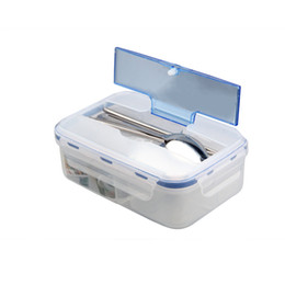 Bento chopsticks online shopping - Three Lattice PP Plastic Box Rectangle Transparent Multi Function Microwave Oven Heating Bento Case Leak Proof rc E1 R