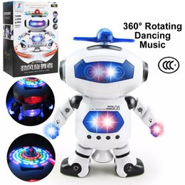 Electronics Dance Music Canada - 360 Rotating Space Dancing Robot Musical Walk Lighten Electronic Toy Robot Christmas Birthday Gift Toy For Child