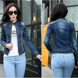 Stand Collar Denim Jacket Canada - 2017 New Arrival Women's Jacket Fashion Casual Denim Jacket Long Sleeve Clothing Slim Design Cotton Breathable Style Free Shipping