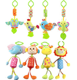 Hanging Monkeys Toy Canada - 8 style Baby Stroller Hanging Plush Animal Owl Bird Butterfly chick lion elephont giraffe monkey Campanula Ring Bell Crib Toys