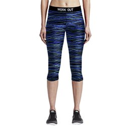 Barato Calças Curtas De Mulher Quente-Atacado- Hot New Fitness Legging Sporting Mulheres Short Fitness Blue Ripple Spandex Calças para Yogaing Leggings Women Pants