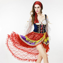 Costumes En Gros Taille Reine Pas Cher-Vente en gros-8818 Party Costume Reine Pirates des Caraïbes New Fashion Halloween Spanish Girls Dancing Robe Taille Gratuite Sexy Femme Exotique