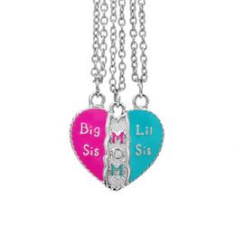 Discount break love - 3pcs set Enamel Broken Heart Big sis Mom Lil Sis Love Heart Necklace Best Friends Sisters Fashion Jewelry For Women Chil