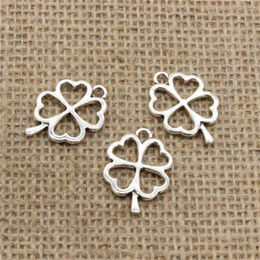 $enCountryForm.capitalKeyWord NZ - Wholesale 65pcs Charms Tibetan Silver Bronze Plated hollow lucky four leaf clover 24*17mm Pendant for Jewelry DIY Hand Made Fitting