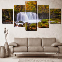 $enCountryForm.capitalKeyWord NZ - Modern Landscape Oil Painting On Canvas 5 Pieces Waterfall Group Pictures For Living Room Wall Art Poster Drop Shipping