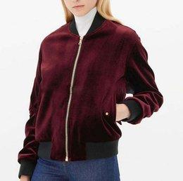 Ladies Pilot Jacket NZ - Ladies Wine Red Velvet Bomber Jacket Vintage Pleated Sleeve Side Pocket Stand Collar Pilot Jacket Spring Coat Free Shipping