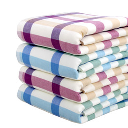 new soft green checkered hardcover grade cotton gauze large bath towel hot sale and free shiipping cheap large bath towels sale