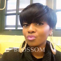 rihanna human hairs 2019 - Rihanna brazilian virgin Human Short Hair Wigs African Americans Black Short Full Hair Lace Wig Glueless Wig For Black W