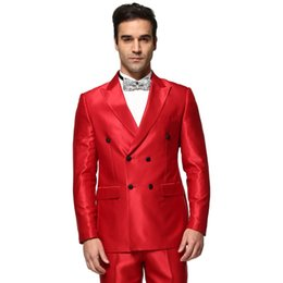Vente En Gros Blazer Rouge Pas Cher-Tenue en gros-2016 Nouvelle Collection Costume Hommes d'affaires robe de mariée Costume confortable Deux boutons Costume Custom Made Blazer Red costume ensemble