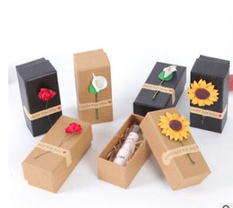 can lipstick Canada - Cosmetic packaging box lipstick lip balm gift box with flowers rose calla sunflowers boxes six colors can choose