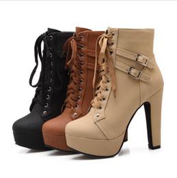 dda9f3bfd7 2017 Moda Feminina Botas de Salto Alto Ankle Boots Sapatos de Plataforma  Mulheres Sapatos de Outono Inverno Botas Mujer Tamanho 34-48