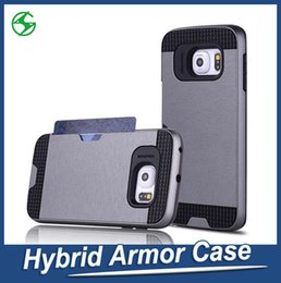 Cell Phone Cases For Samsung Galaxy Canada - For Samsung Note 6 Armor Case Wire-drawing Rugged Cell Phone Case with Card Slot For Samsung Galaxy Note 6