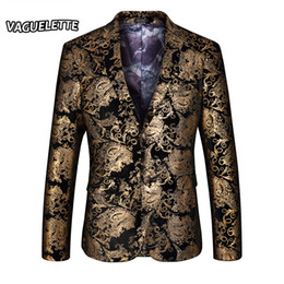 clothing for wedding man 2018 - Wholesale- Stylish Golden Blazer Men Printed Paisley Floral Suit Jacket Wedding Party Stage Clothes For Singer Gold Blaz