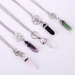 Wholesale Fashion Star Lotus Hexagonal Prism Necklaces Gemstone Rock Natural Crystal Quartz Healing Point Chakra Stone Long Charms Women Necklace