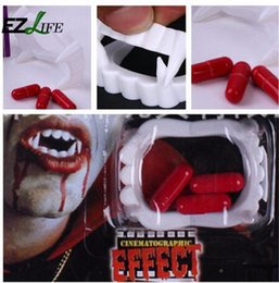 $enCountryForm.capitalKeyWord NZ - Vampire Fake Teeth For Halloween Party Prop,Masquerade Cosplay Makeup Funny Blood Pill Dentures 2016 new
