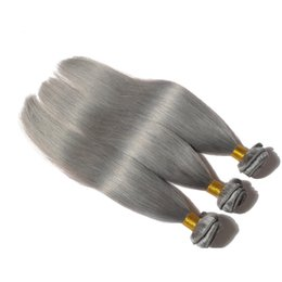 dyed hair bundles UK - New Arrival Malaysian Silky Straight Platinum Grey Hair Extensions 3 Bundles Colored Human Hair Weft Straight Gray Hair Weave No Tangle