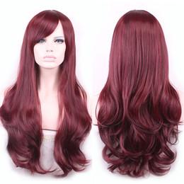 $enCountryForm.capitalKeyWord NZ - WoodFestival lolita wave hair heat resistant synthetic wig bangs natural burgundy wigs for women african americans