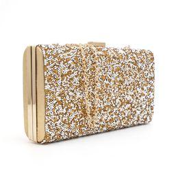 2016 clutch bags Woman Evening bag Diamond Rhinestone Clutches Crystal  Wallet Wedding Purse Party Banquet Black Gold Silver 8009 30c238496de9