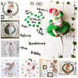 $enCountryForm.capitalKeyWord NZ - INS Kids Blankets cotton photo prop Blankets infant Swaddling Letter flower digital baby bed sheet Sleeping Bag 100*100cm 10 styles