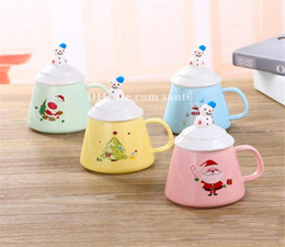 Porcelain coffee cuPs sPoons online shopping - Popular Breakfast milk cup lovable pottery and porcelain Christmas coffee cup Cover with spoon