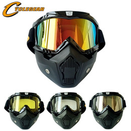Hot Promotion Cyclegear Mask Goggles Motocross Helmet Goggle Detachable Mouth Filter Fitting Open Face Helmet Retro Style on Sale