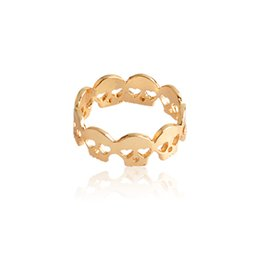 Jewelry girl skull online shopping - Eternity Skull Ring For Women Girl Tiny Skull Stack Rings Gold Silver Hollow Heard shaped Eyes Rock Lady Punk Gothic Jewelry