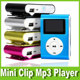 Wholesale pink card reader for sale - Group buy Mini Clip Mp3 Player With Screen Sport Music Players With USB Cable Earphones Retail Box Support Micro SD TF Card OM CI2