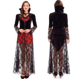 Women Sexy Black Halloween Costumes NZ - Sexy Vampire Stand-up Collar Robe Charming Evil Woman Black Long Lace Dress Halloween Carnival Witch Cosplay Costume