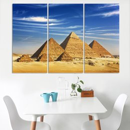 egypt figures NZ - 3Panel The Pyramids Of Egypt Picture Modern Abstract Painting print On Canvas Wall Art Gifts Home Decoration Craft Landscape( No Frame)