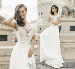 white chiffon tops for wedding dresses Canada - 2019 Milla Nova Bohemian White Chiffon Wedding Dresses For Greek Style Crew Neck See Though Top Cap Sleeve Bridal Gown Beach Garden Wedding