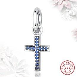 BELAWANG 2 Farben 925 Sterling Silber Klar CZ Diamant Perlen Fancy Pink Blau Kristall Kreuz Charm Fit Pandora Armband DIY Schmuck machen