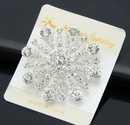 Real Flower Brooches Canada - Fashion 925 silver plated Real Austria Crystal petals Brooch Diamond Flowers Brooches Pins For Women Dresses Scarf clips accessories