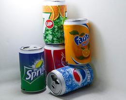 Venta al por mayor de Mini Altavoz Latas Coke Pepsi Fant Inalámbrico Bluetootht Mini Altavoz USB Portátil Caja de Sonido Altavoz Multimedia Con Radio FM con caja al por menor