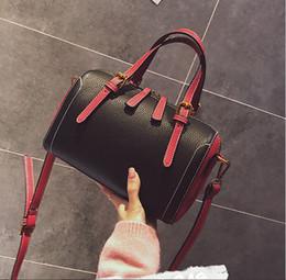 Korean Bags Canada - 2017 New korean style women Boston Bags PU tote handbags pillow color block designer shoulder bags