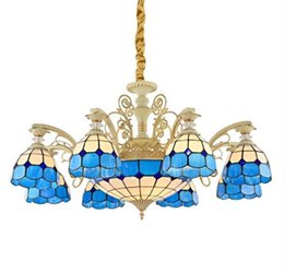 China Tiffany Decorative Colored Glass Chandeliers balcony hanging Tiffany lamps Hotel Restaurant personality chandelier living room ZG8036# cheap decorative colored lamps suppliers