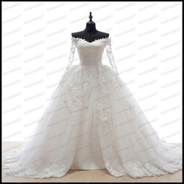 T Back Modern Wedding Dress UK - Off The Shoulder Overskirts Wedding Dresses Long Sleeve Lace Appliques Heart Shape See Through Back Train Real Image Bridal Gowns