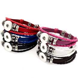 Chinese  Multilayer Leather Bracelet Noosa Chunk 18mm Metal Button Bracelet Ginger Snap Button Statement Jewelry Wholesale Snap Jewelry Snap Bracelet manufacturers