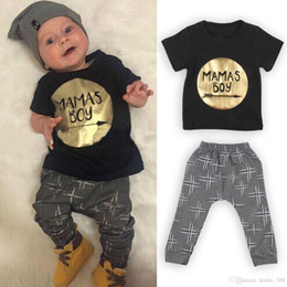 Baby Gold Leopard Canada - 2016 Cute Cartoon INS BOY Baby Girls Boys Outfits Set Summer Sets Boy Cotton Tops + Harem Pants 2pcs Suits Kid - Shirts Golden Gold